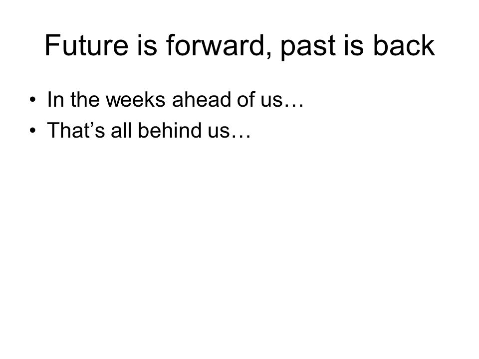 Future is forward, past is back In the weeks ahead of us… That's all behind us…