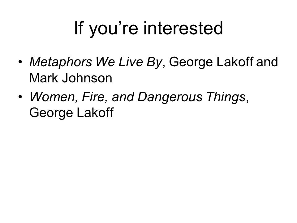 If you're interested Metaphors We Live By, George Lakoff and Mark Johnson Women, Fire, and Dangerous Things, George Lakoff