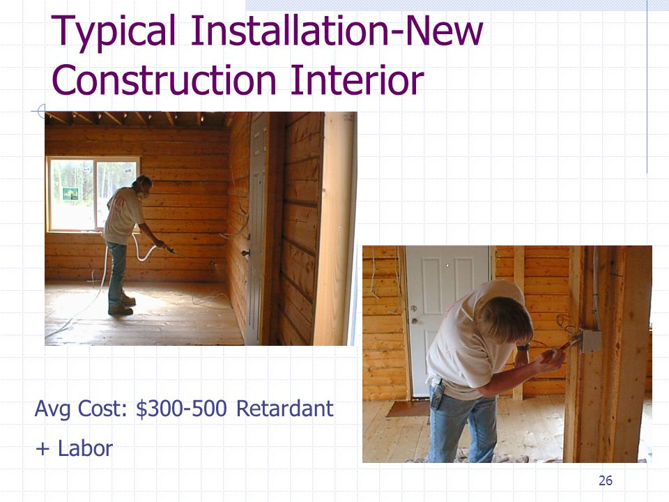 25 Advanced Fire Control Systems – Dwelling Structure Application of Fire Retardant/Resistant Coating Increase burn rating of building material Firefree 88 - painted on like a primer/first coat for both new and existing dwellings Noburn Woodguard - Applied to entire building at framing for new construction http://www.homefirepreventionkit.com/home_ fire_prevention_kit_applica.htm