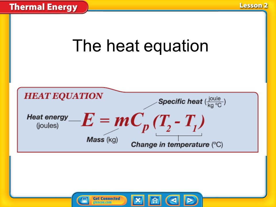 Lesson 2-3 Conduction (cont.) What does it mean if a material has a low specific heat?