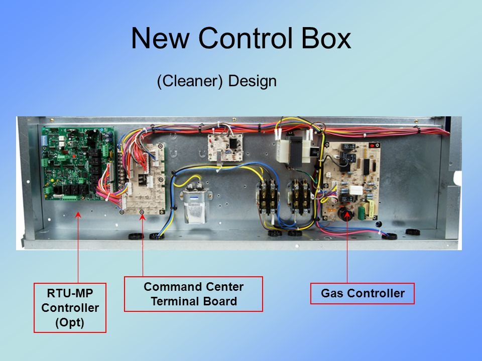 NEW FIOP: Unit-Mounted CO 2 Sensor Same control logic as on accessory CO 2 No LCD display on sensor Requires PC access to configure Software and cable available thru RCD Details to follow in full training program