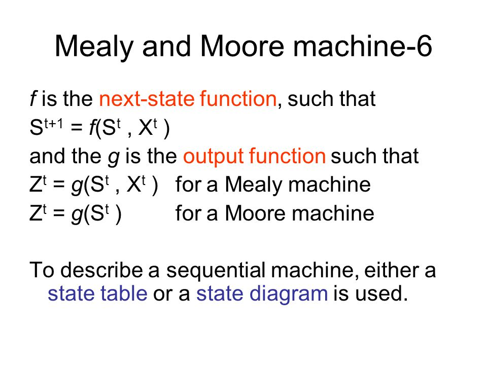 Mealy and Moore machine-5 A sequential machine can therefore formally be defined as follows: Definition: A sequential machine is a quintuple, M=(X,Z,S