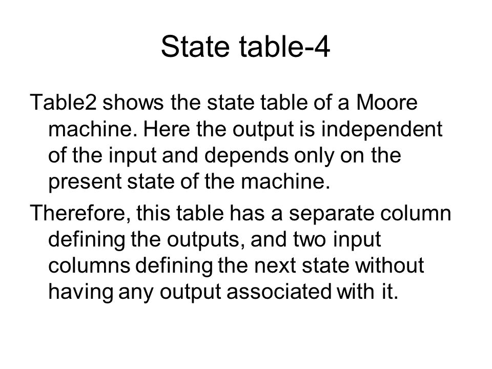 State table-3 For example, for the present state B when the input is I 1, the next state is D and the output is O 2. If the input is I 2, the next sta