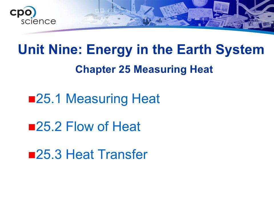 Unit Nine: Energy in the Earth System 25.1 Measuring Heat 25.2 Flow of Heat 25.3 Heat Transfer Chapter 25 Measuring Heat