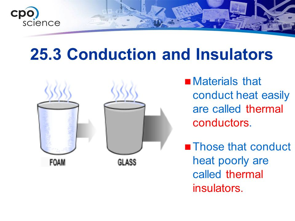 25.3 Conduction and Insulators Materials that conduct heat easily are called thermal conductors. Those that conduct heat poorly are called thermal ins