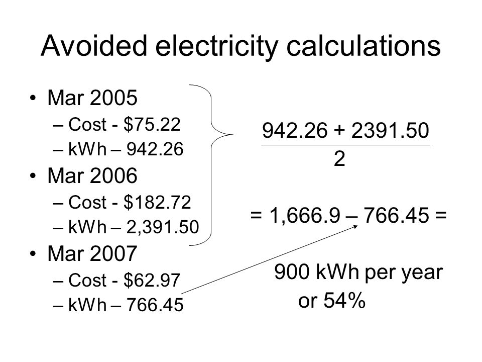 Avoided electricity calculations Mar 2005 –Cost - $75.22 –kWh – 942.26 Mar 2006 –Cost - $182.72 –kWh – 2,391.50 Mar 2007 –Cost - $62.97 –kWh – 766.45