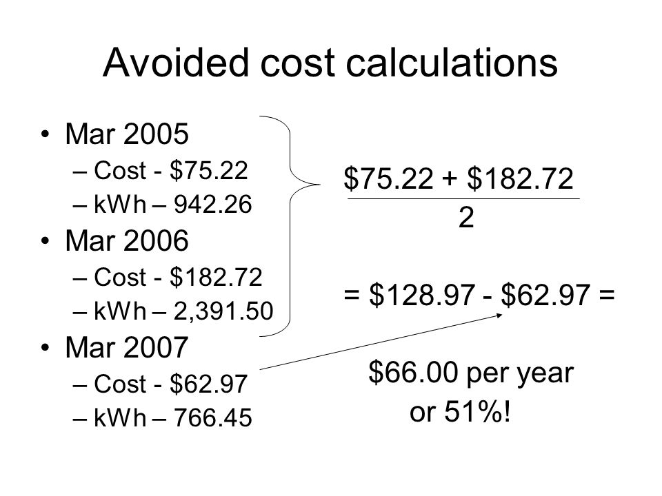 Avoided cost calculations Mar 2005 –Cost - $75.22 –kWh – 942.26 Mar 2006 –Cost - $182.72 –kWh – 2,391.50 Mar 2007 –Cost - $62.97 –kWh – 766.45 $75.22