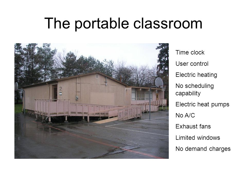 The portable classroom Time clock User control Electric heating No scheduling capability Electric heat pumps No A/C Exhaust fans Limited windows No de