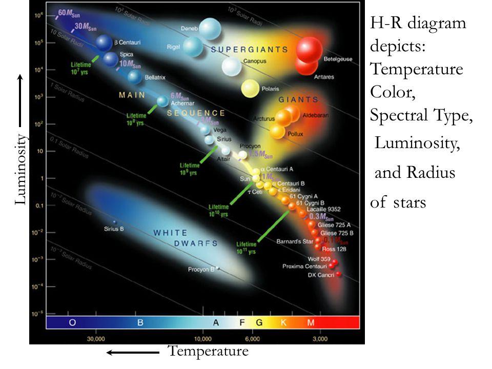 Temperature Luminosity H-R diagram depicts: Temperature Color, Spectral Type, Luminosity, and Radius of stars