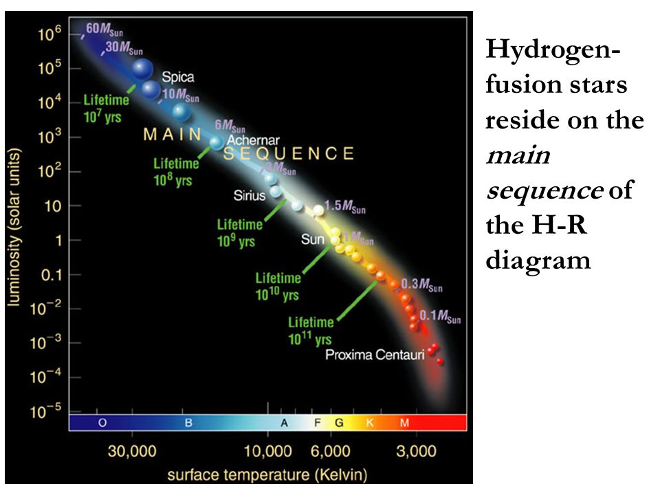 Hydrogen- fusion stars reside on the main sequence of the H-R diagram