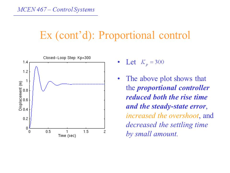 MCEN 467 – Control Systems Ex (cont'd): Proportional control Let The above plot shows that the proportional controller reduced both the rise time and