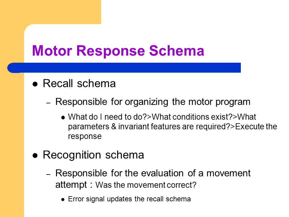 Motor Response Schema Recall schema – Responsible for organizing the motor program What do I need to do?>What conditions exist?>What parameters & inva