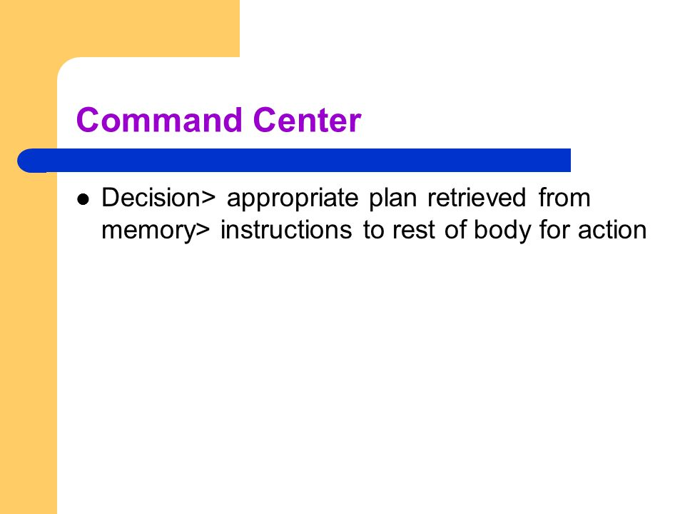 Command Center Decision> appropriate plan retrieved from memory> instructions to rest of body for action