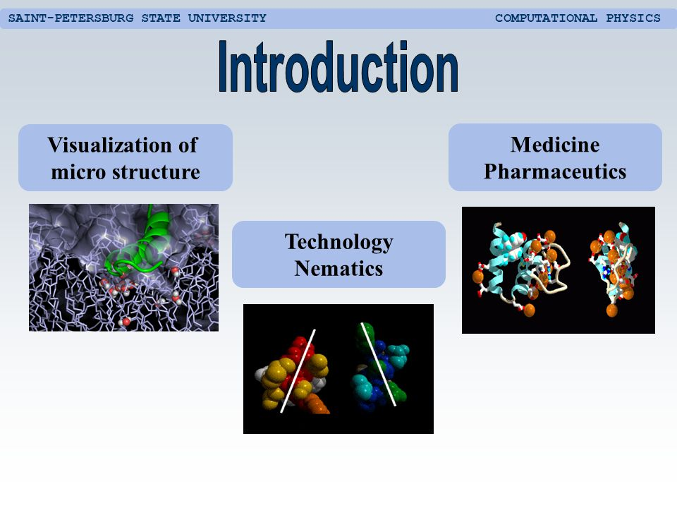 SAINT-PETERSBURG STATE UNIVERSITY COMPUTATIONAL PHYSICS Medicine Pharmaceutics Technology Nematics Visualization of micro structure