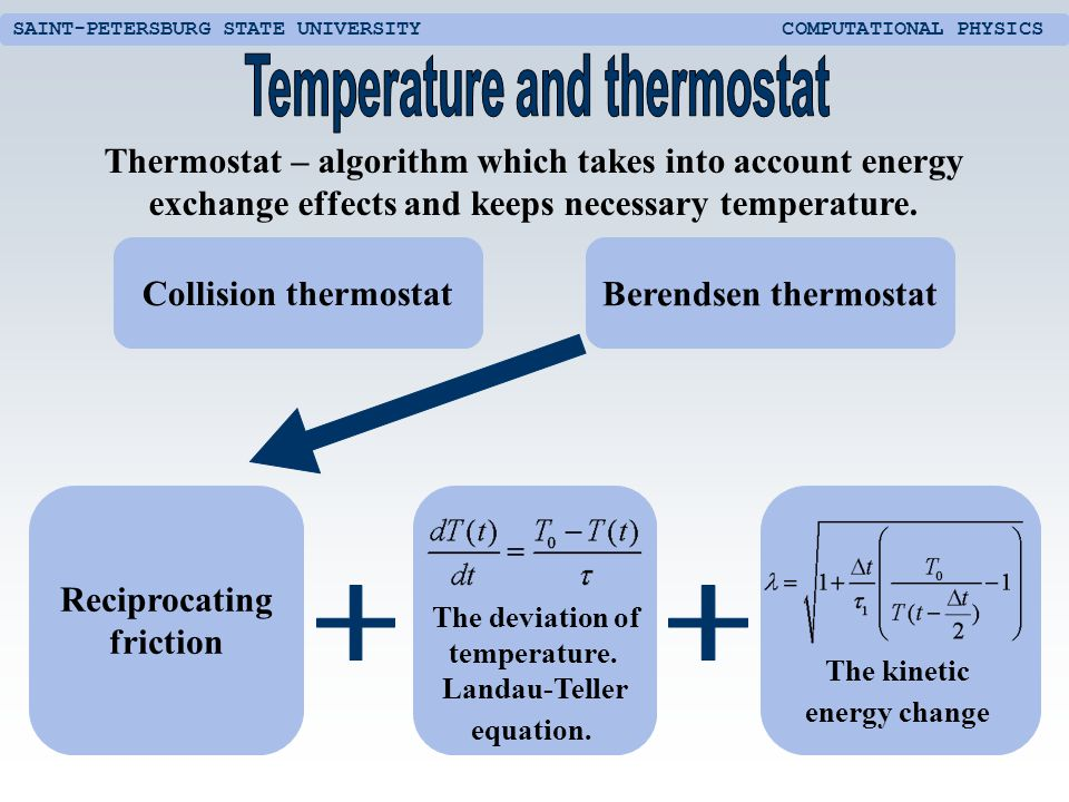 SAINT-PETERSBURG STATE UNIVERSITY COMPUTATIONAL PHYSICS Thermostat – algorithm which takes into account energy exchange effects and keeps necessary temperature.