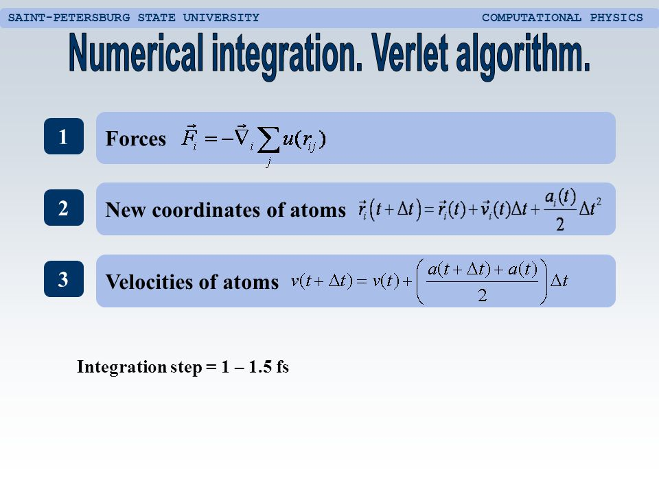 SAINT-PETERSBURG STATE UNIVERSITY COMPUTATIONAL PHYSICS 1 2 3 New coordinates of atoms Forces Velocities of atoms Integration step = 1 – 1.5 fs