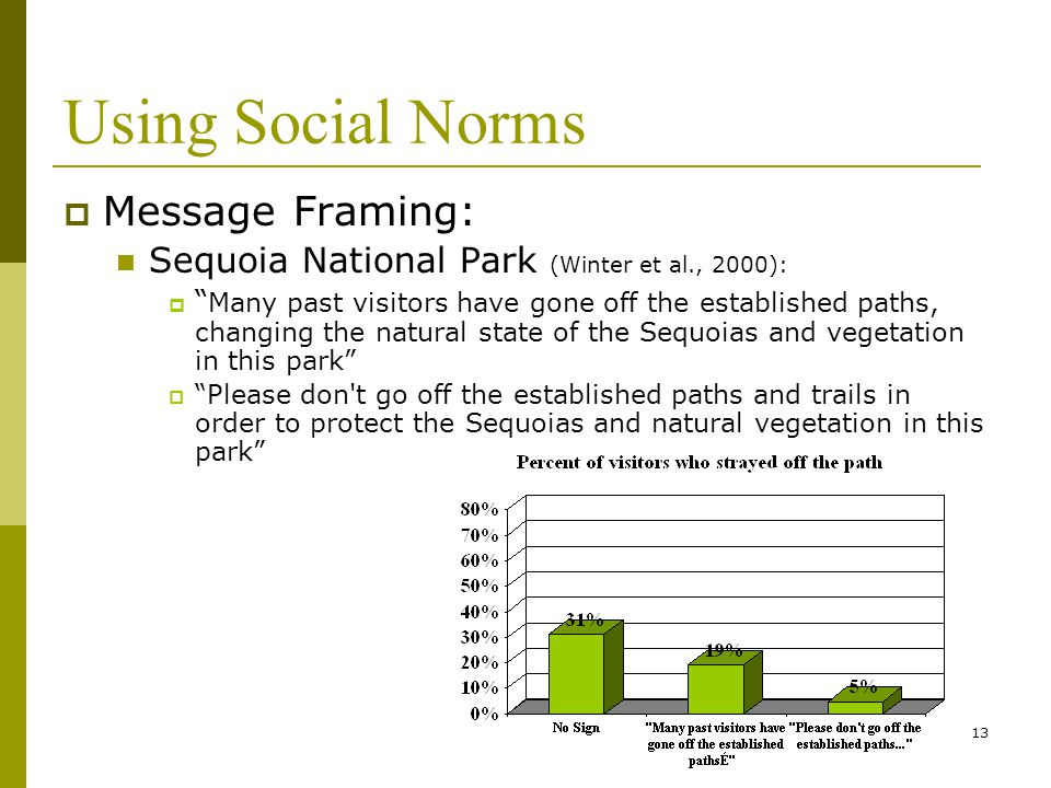 13 Using Social Norms  Message Framing: Sequoia National Park (Winter et al., 2000):  Many past visitors have gone off the established paths, changing the natural state of the Sequoias and vegetation in this park  Please don t go off the established paths and trails in order to protect the Sequoias and natural vegetation in this park