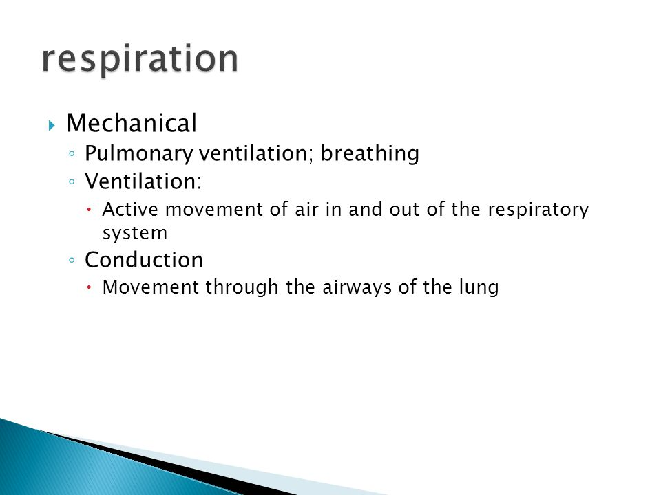  Mechanical ◦ Pulmonary ventilation; breathing ◦ Ventilation:  Active movement of air in and out of the respiratory system ◦ Conduction  Movement through the airways of the lung