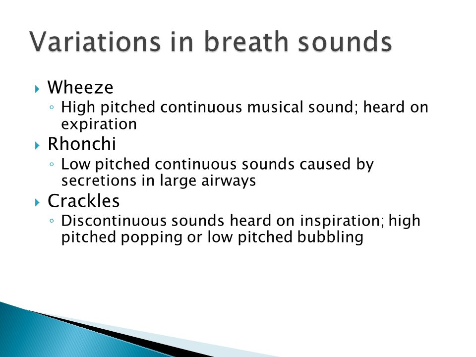  Wheeze ◦ High pitched continuous musical sound; heard on expiration  Rhonchi ◦ Low pitched continuous sounds caused by secretions in large airways  Crackles ◦ Discontinuous sounds heard on inspiration; high pitched popping or low pitched bubbling