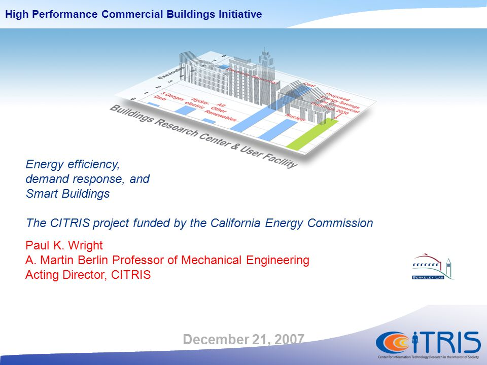 Conservation & Energy Efficiency: Power-Aware Buildings 2005 202020352050206520802095 10.000 20.000 30.000 40.000 50.000 60.000 70.000 80.000 90.000 Emissions (MtCO 2 yr -1 ) Emissions to the atmosphere MiniCAM * CITRIS honors Energy Commissioner Arthur Rosenfeld