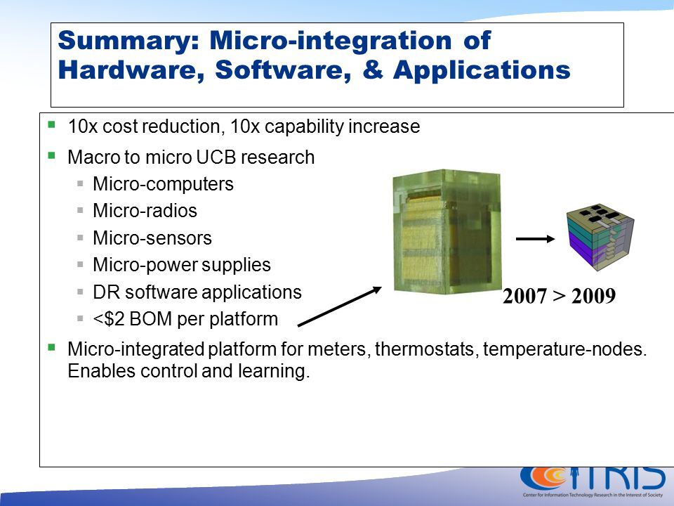Summary: Micro-integration of Hardware, Software, & Applications  10x cost reduction, 10x capability increase  Macro to micro UCB research  Micro-computers  Micro-radios  Micro-sensors  Micro-power supplies  DR software applications  <$2 BOM per platform  Micro-integrated platform for meters, thermostats, temperature-nodes.