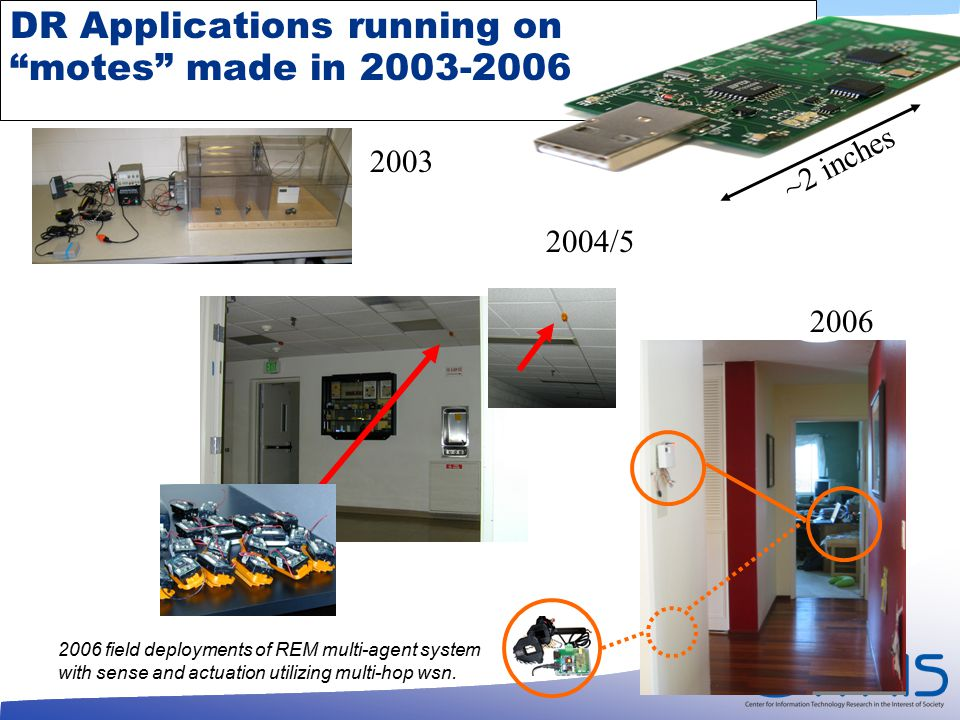 DR Applications running on motes made in 2003-2006 2006 field deployments of REM multi-agent system with sense and actuation utilizing multi-hop wsn.