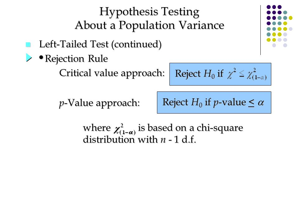 n Left-Tailed Test (continued) Hypothesis Testing About a Population Variance Reject H 0 if p -value <  p -Value approach: Critical value approach: R