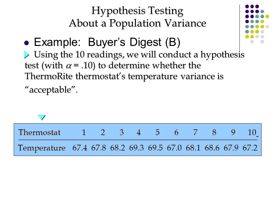 Hypothesis Testing About a Population Variance Using the 10 readings, we will conduct a hypothesis test (with  =.10) to determine whether the ThermoR