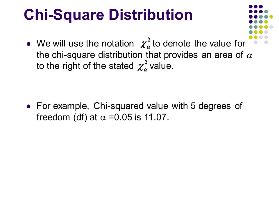 Chi-Square Distribution We will use the notation to denote the value for the chi-square distribution that provides an area of  to the right of the st