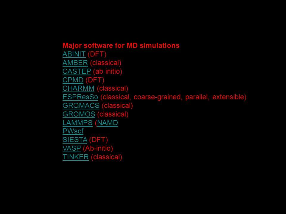 Major software for MD simulations ABINITABINIT (DFT) AMBERAMBER (classical) CASTEPCASTEP (ab initio) CPMDCPMD (DFT) CHARMMCHARMM (classical) ESPResSoE