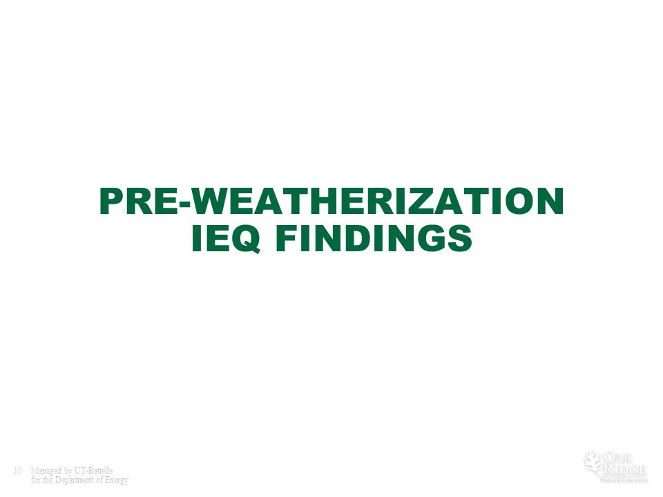 10Managed by UT-Battelle for the Department of Energy PRE-WEATHERIZATION IEQ FINDINGS