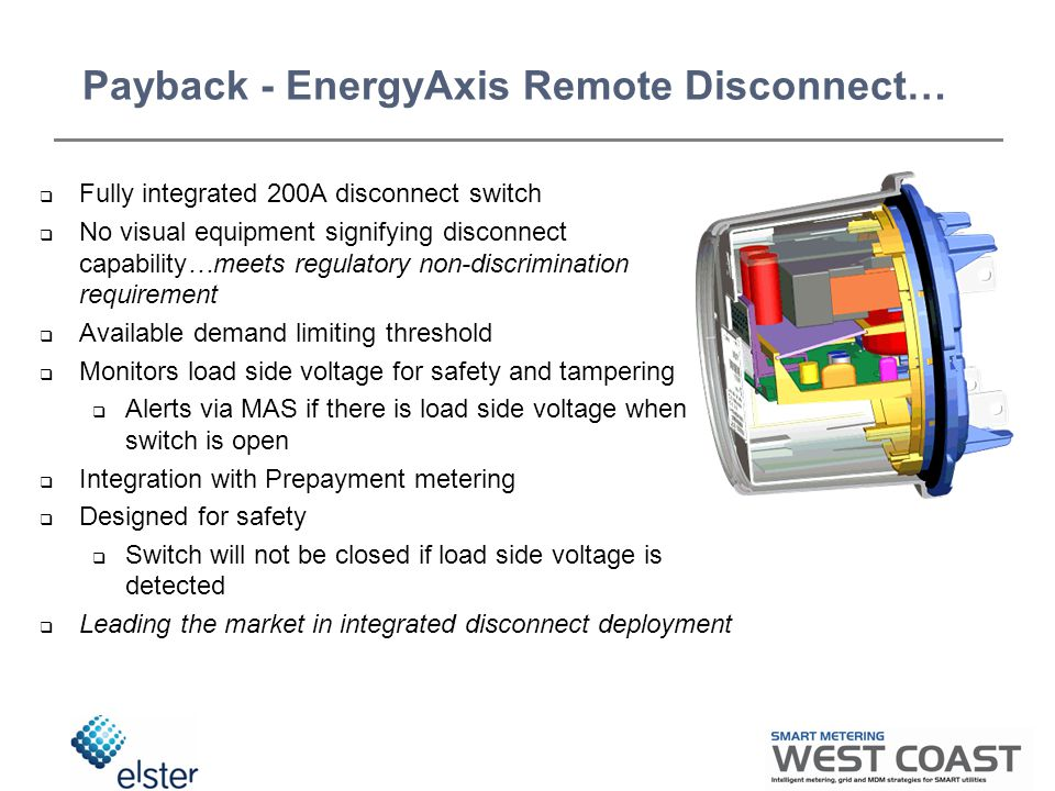 Payback - EnergyAxis Remote Disconnect…  Fully integrated 200A disconnect switch  No visual equipment signifying disconnect capability…meets regulatory non-discrimination requirement  Available demand limiting threshold  Monitors load side voltage for safety and tampering  Alerts via MAS if there is load side voltage when switch is open  Integration with Prepayment metering  Designed for safety  Switch will not be closed if load side voltage is detected  Leading the market in integrated disconnect deployment