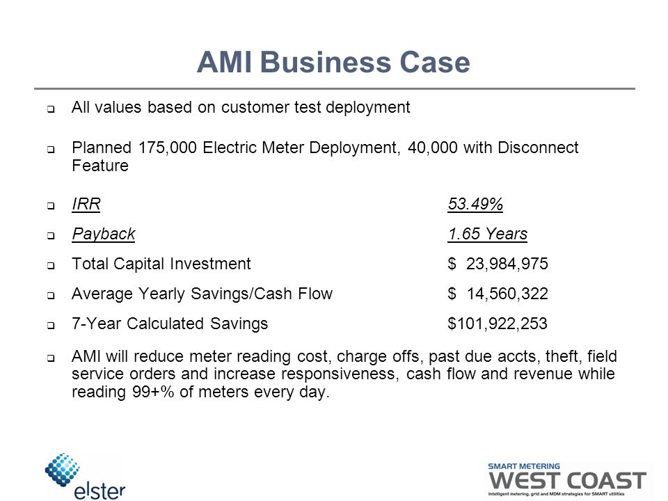 AMI Business Case  All values based on customer test deployment  Planned 175,000 Electric Meter Deployment, 40,000 with Disconnect Feature  IRR53.49%  Payback1.65 Years  Total Capital Investment $ 23,984,975  Average Yearly Savings/Cash Flow $ 14,560,322  7-Year Calculated Savings$101,922,253  AMI will reduce meter reading cost, charge offs, past due accts, theft, field service orders and increase responsiveness, cash flow and revenue while reading 99+% of meters every day.