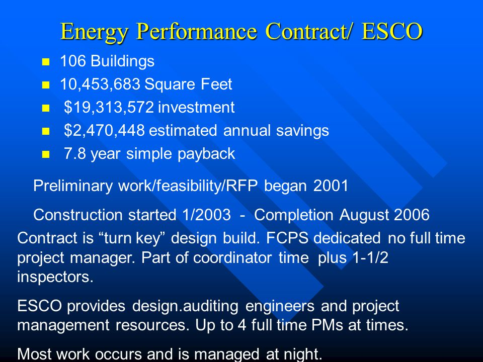 Energy Performance Contract/ ESCO 106 Buildings 10,453,683 Square Feet $19,313,572 investment $2,470,448 estimated annual savings 7.8 year simple payb