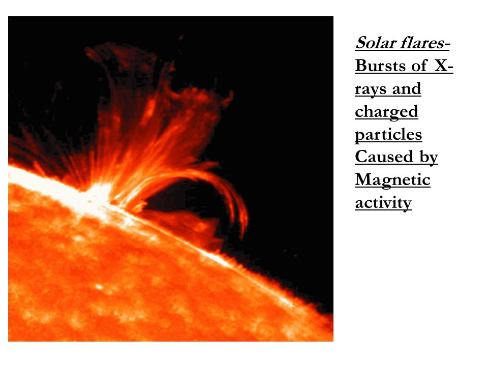 Solar flares- Bursts of X- rays and charged particles Caused by Magnetic activity