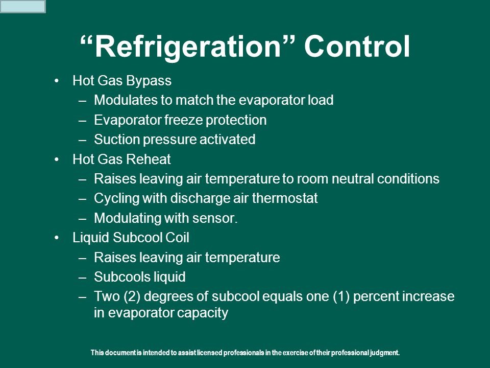 "This document is intended to assist licensed professionals in the exercise of their professional judgment.  2011 Addison ""Refrigeration"" Control Hot"