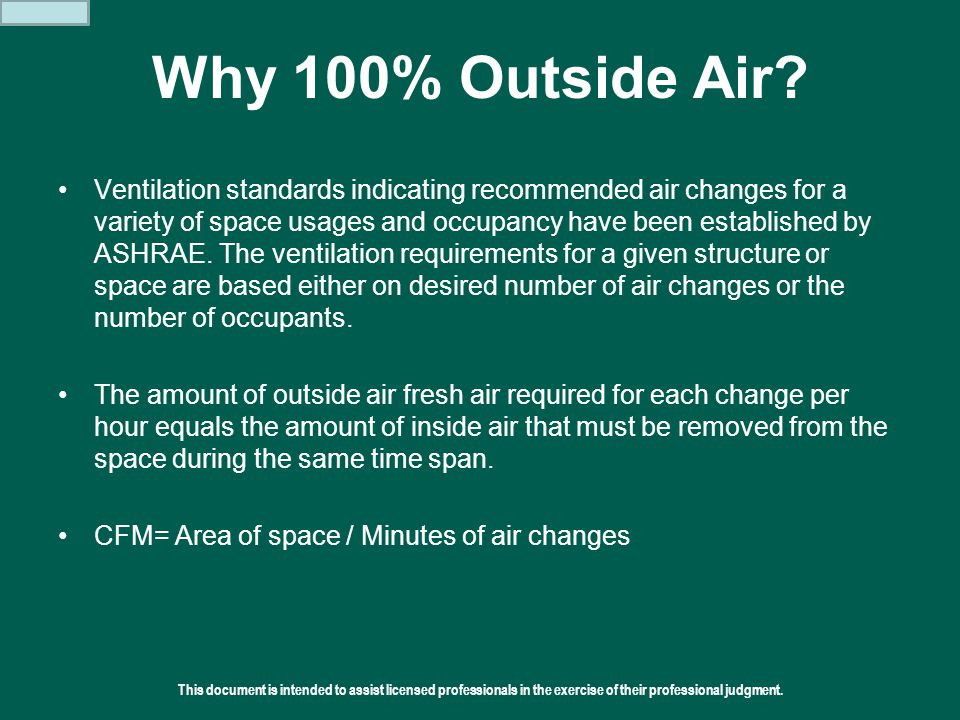 This document is intended to assist licensed professionals in the exercise of their professional judgment.  2011 Addison Why 100% Outside Air? Ventil