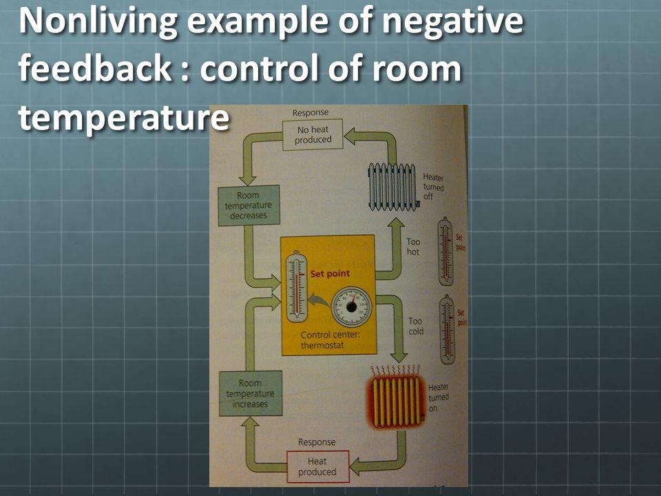 Nonliving example of negative feedback : control of room temperature