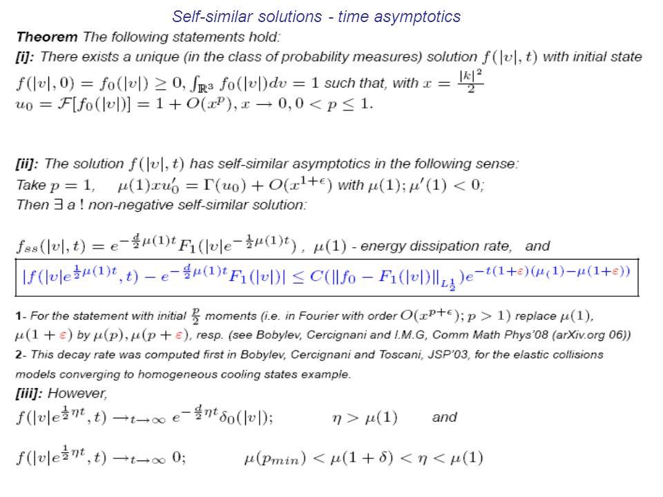 Self-similar solutions - time asymptotics