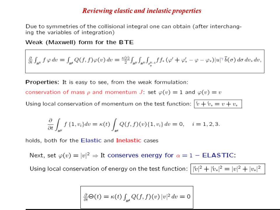 For a Maxwell type model: a linear equation for the kinetic energy Reviewing elastic and inelastic properties