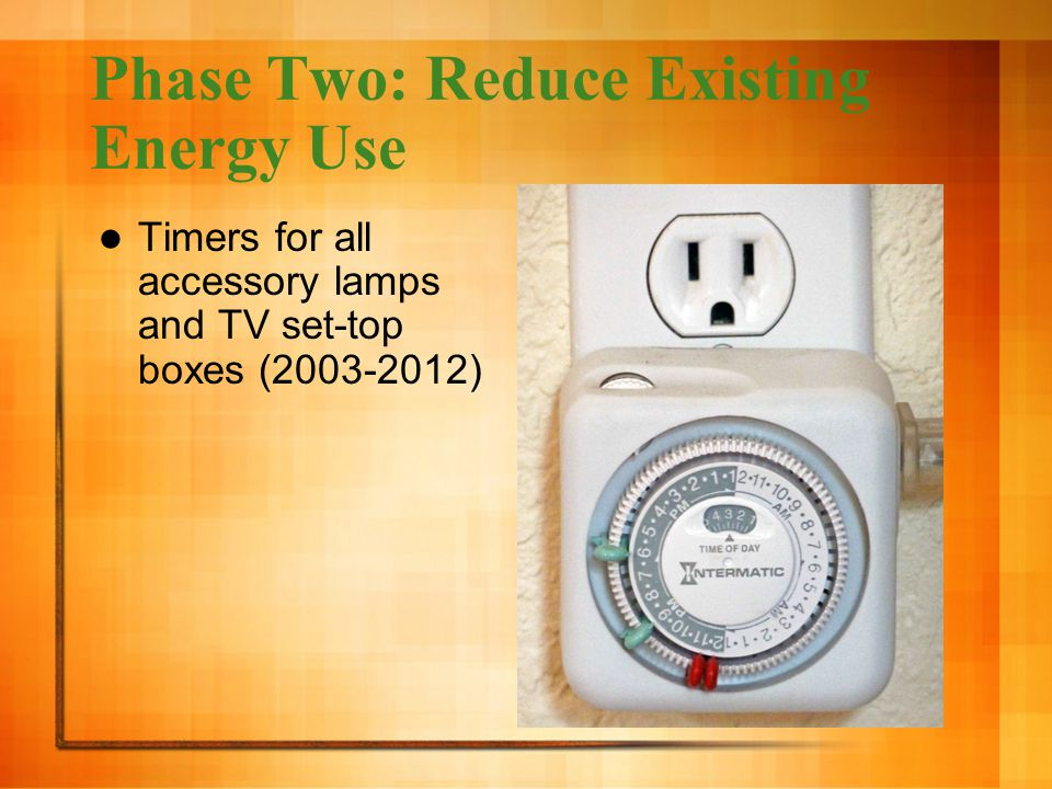 Phase Two: Reduce Existing Energy Use Timers for all accessory lamps and TV set-top boxes (2003-2012)