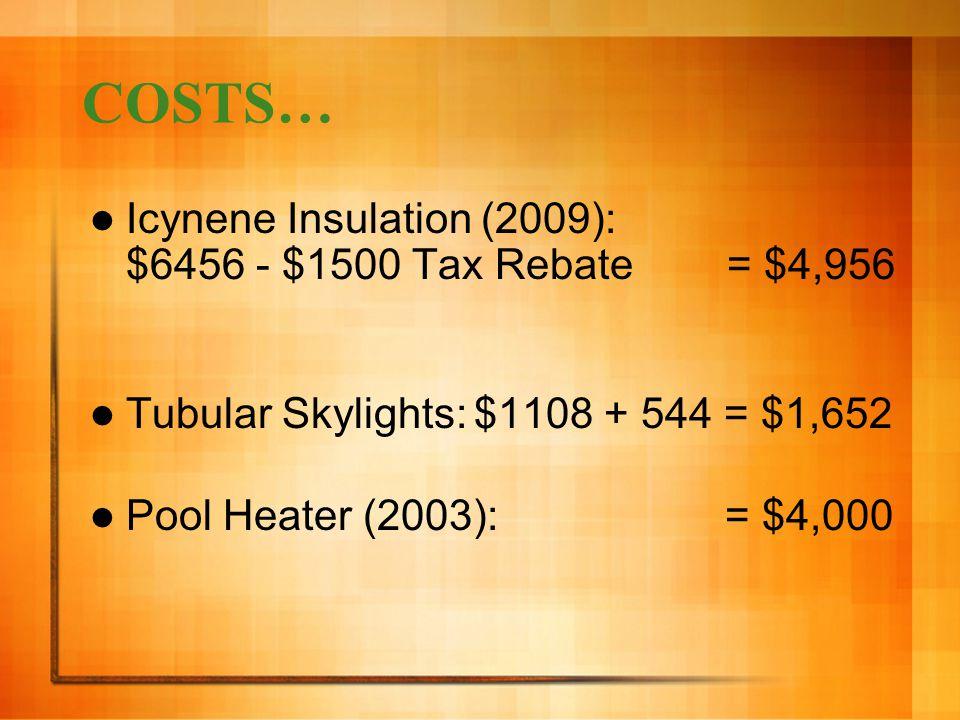 COSTS… Icynene Insulation (2009): $6456 - $1500 Tax Rebate = $4,956 Tubular Skylights:$1108 + 544 = $1,652 Pool Heater (2003): = $4,000