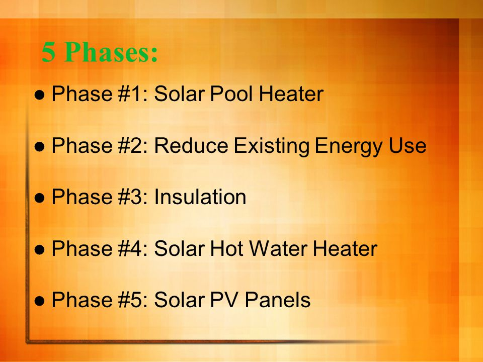 Phase Four: Solar Hot Water Heater Outside panel: