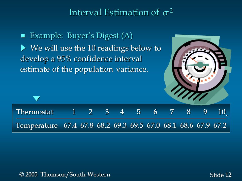 12 Slide © 2005 Thomson/South-Western Interval Estimation of  2 We will use the 10 readings below to We will use the 10 readings below to develop a