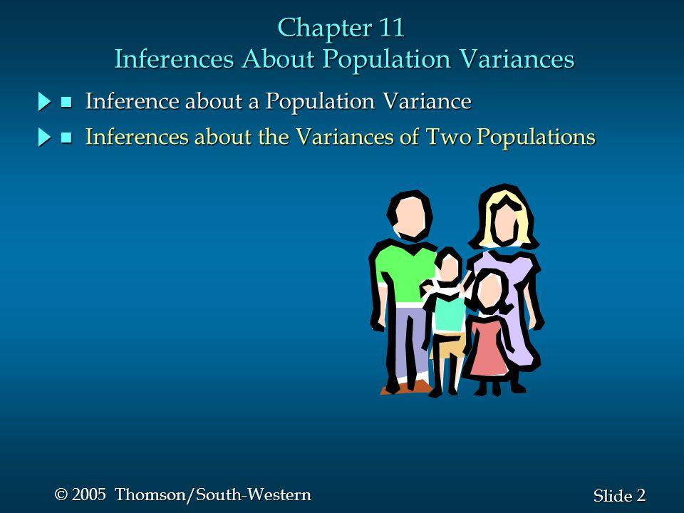 2 2 Slide © 2005 Thomson/South-Western Chapter 11 Inferences About Population Variances n Inference about a Population Variance n Inferences about the