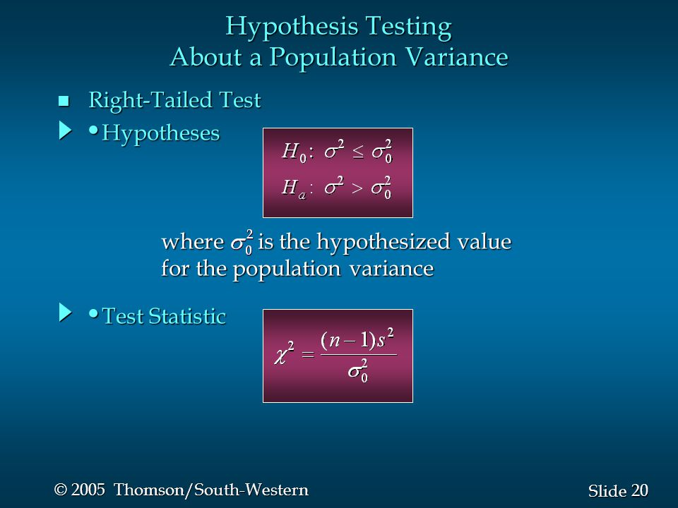 20 Slide © 2005 Thomson/South-Western n Right-Tailed Test Hypothesis Testing About a Population Variance where is the hypothesized value for the popul