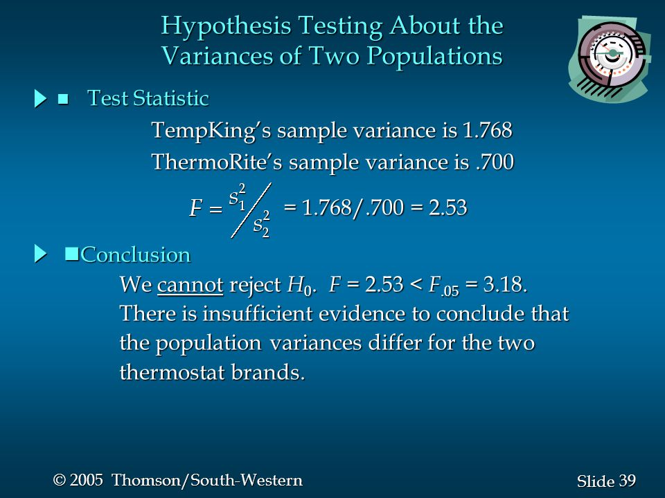 39 Slide © 2005 Thomson/South-Western n Test Statistic Hypothesis Testing About the Variances of Two Populations We cannot reject H 0. F = 2.53 < F.05