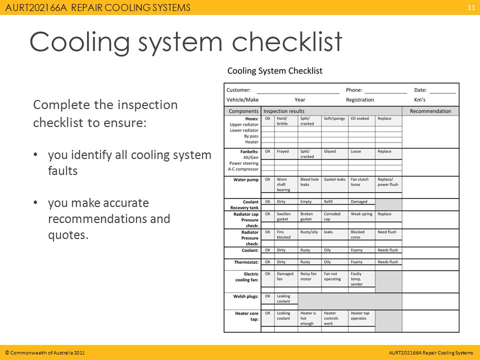 AURT202166A REPAIR COOLING SYSTEMS © Commonwealth of Australia 2011 AURT202166A Repair Cooling Systems Cooling system checklist Complete the inspection checklist to ensure: you identify all cooling system faults you make accurate recommendations and quotes.