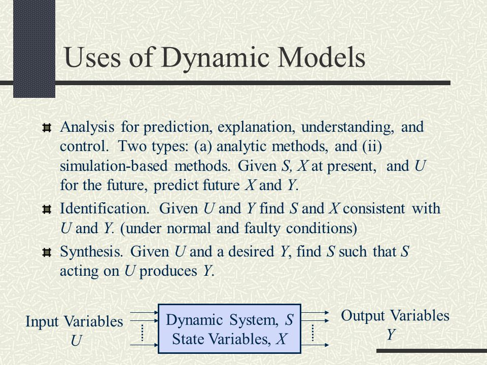 Uses of Dynamic Models Analysis for prediction, explanation, understanding, and control. Two types: (a) analytic methods, and (ii) simulation-based me