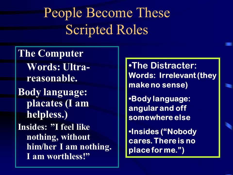 People Become These Scripted Roles The Placater –Words -- agree (Whatever ) –Body language-- placates (I am helpless.) –Insides-- I feel like nothing, without him/her I am nothing.